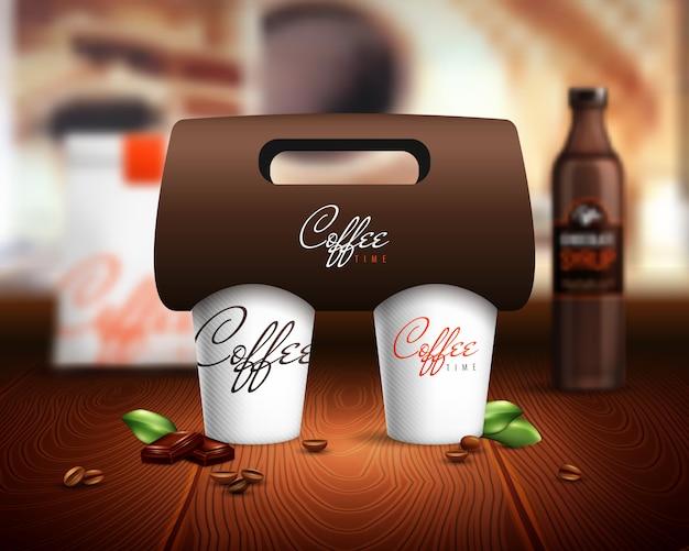 Ilustración de maqueta de tazas de café