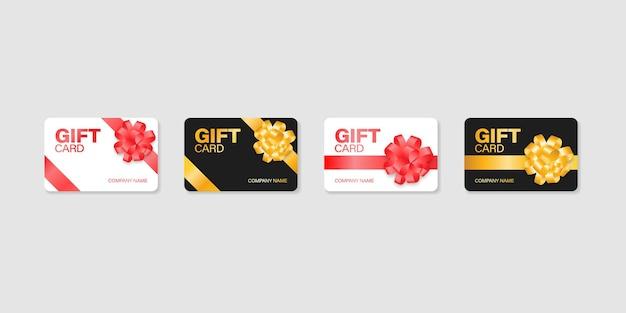 Ilustración de maqueta de vale de vector de tarjeta de regalo, colección de cupones de plástico de certificado de descuento.