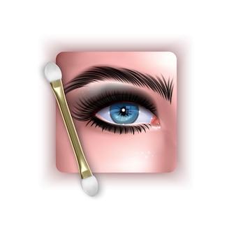 Ilustración con maquillaje realista de ojos azules y ojos ahumados