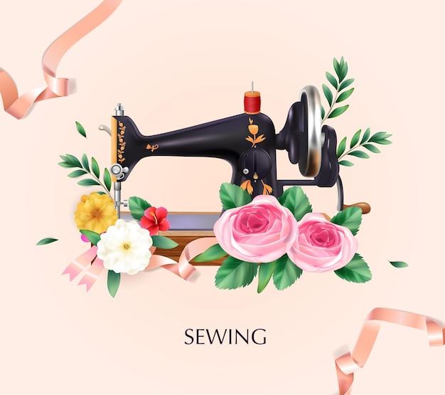 Ilustración de la máquina de coser con flores y cintas