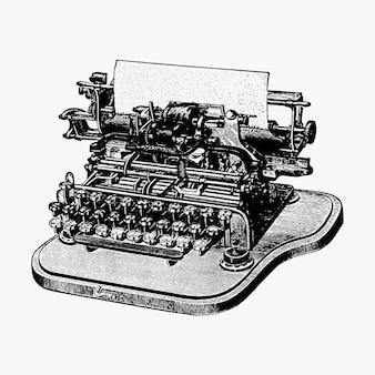 Ilustración de la máquina de escribir de la vendimia