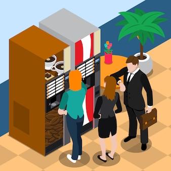 Ilustración de la máquina expendedora de café