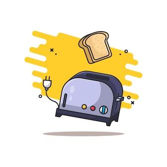 Ilustración de máquina de pan y pan