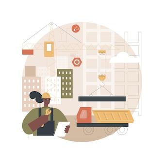 Ilustración de maquinaria de construcción moderna