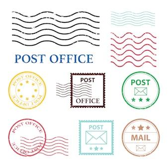 Ilustración de marca de oficina de correos sobre fondo blanco