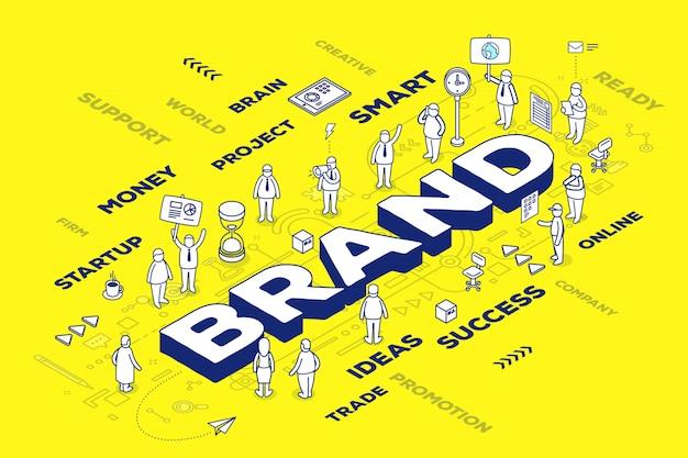 Ilustración de la marca de palabra tridimensional con personas y etiquetas sobre fondo amarillo con esquema. concepto de tecnología de marca.