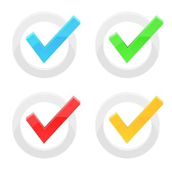 Ilustración de marca de verificación isoalted sobre fondo blanco