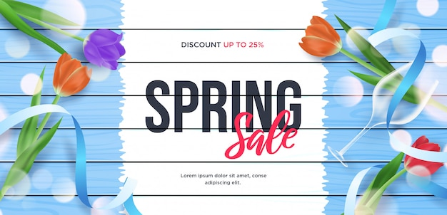 Ilustración de marco de banner 3d de venta de primavera