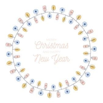 Ilustración de marco de bombillas de navidad