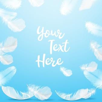 Ilustración del marco delicadas plumas blancas sobre fondo azul con espacio para texto