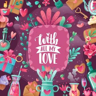 Ilustración de marco de dibujos animados de día de san valentín. tarjeta de felicitación del día de san valentín en estilo de dibujos animados con textura shabby chic. gamma rosa púrpura.