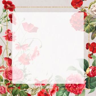 Ilustración de marco floral de flores rojas vintage