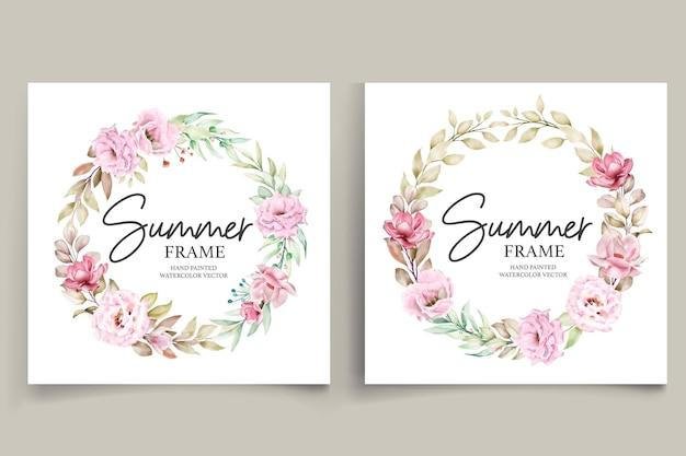 Ilustración de marco floral de verano acuarela pintada a mano