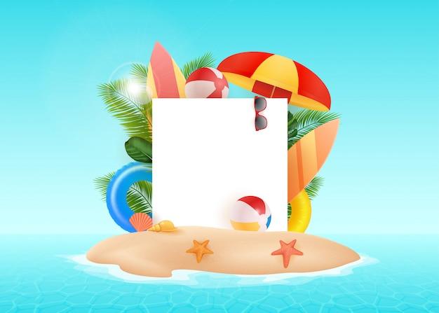 Ilustración de marco libre de vacaciones de verano sobre fondo blanco vintage. plantas tropicales, flores, paisaje de pelota de playa.