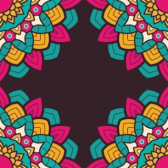 Ilustración de marco de mandala colorido floral decorativo