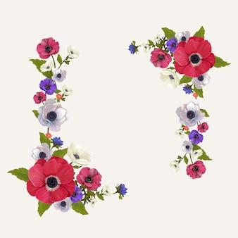 Ilustración de marco de maqueta floral