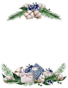 Ilustración, marco de navidad con ramas de abeto, bayas y algodones