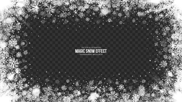 Ilustración de marco de nieve transparente 3d