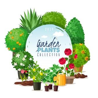 Ilustración de marco de plantas de jardín.