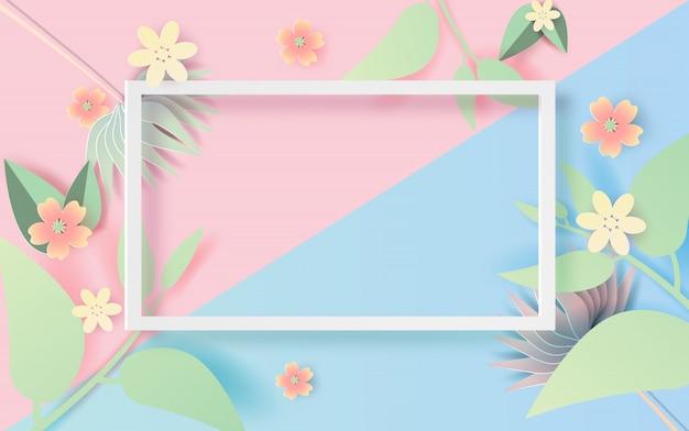 Ilustración del marco del rectángulo floral y hoja