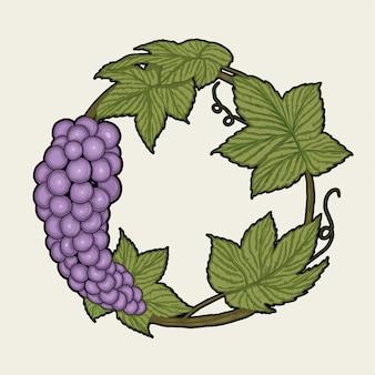 Ilustración de marco de uva