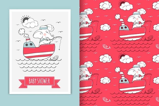 Ilustración de marinero elefante y patrones sin fisuras