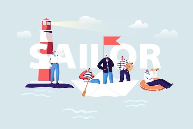 Ilustración de marinero. personajes masculinos de la tripulación del barco en uniforme. capitán, marineros con chaleco a rayas en el volante y boya salvavidas