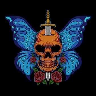 Ilustración de mariposa de ala de cráneo