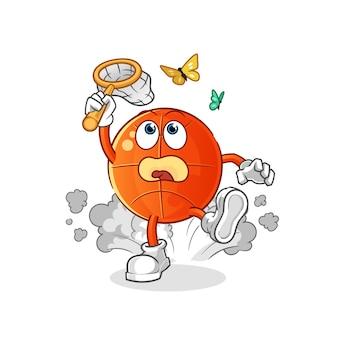 Ilustración de mariposa de captura de baloncesto. personaje