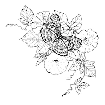 Ilustración de mariposa gráfica dibujada a mano en rama de flor de enredadera. ilustración en blanco y negro