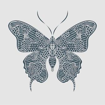Ilustración de mariposa, mandala zentangle