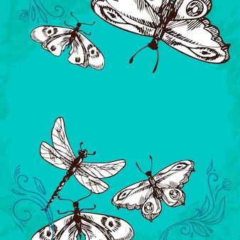 Ilustración de mariposas y libélulas