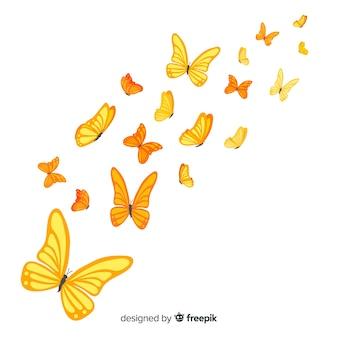 Ilustración mariposas realistas volando