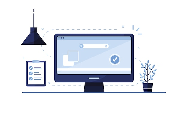 Ilustración de marketing por correo electrónico. lista de quehaceres. lista de verificación. lugar de trabajo en casa, en la oficina. ordenador portátil. formulario de solicitud completado para el sitio. rellenando documentos. pantalla del monitor. azul. eps 10