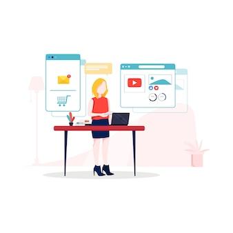 Ilustración de marketing digital en estilo plano