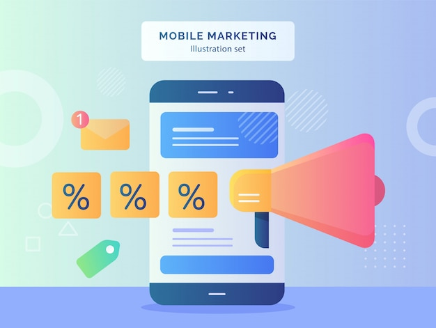 Ilustración de marketing móvil establece notificación de mensaje de etiqueta de porcentaje de megáfono cercano de teléfono inteligente