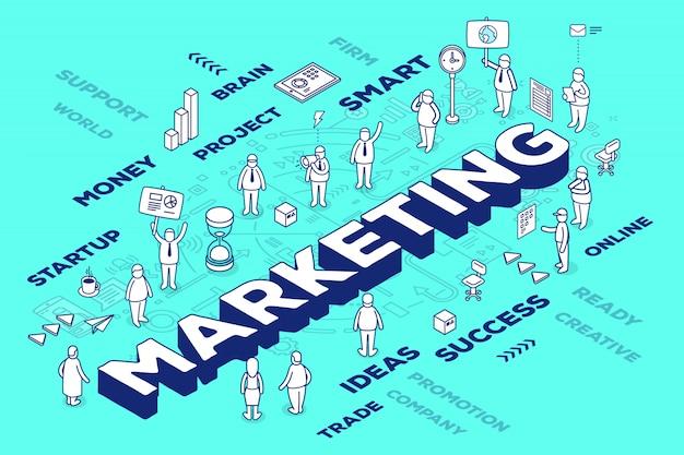 Ilustración de marketing de palabras tridimensional con personas y etiquetas sobre fondo azul con esquema.