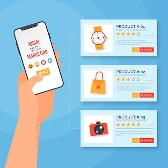 Ilustración de marketing en redes sociales