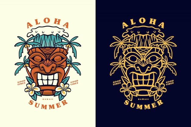 Ilustración de máscara de aloha summer hawaii tiki