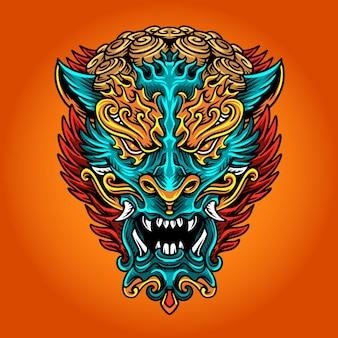 Ilustración de máscara de año nuevo chino