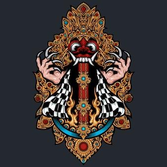 Ilustración de máscara de barong bali