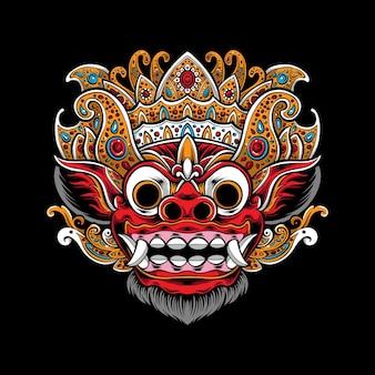 Ilustración de máscara de barong balinés