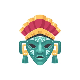 Ilustración de máscara de la civilización maya