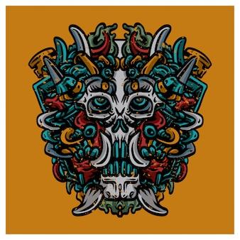 Ilustración de máscara de cráneo maya