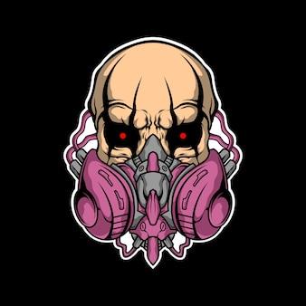 Ilustración de máscara de gas de cráneo