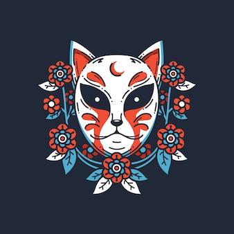 Ilustración de máscara japonesa de zorro