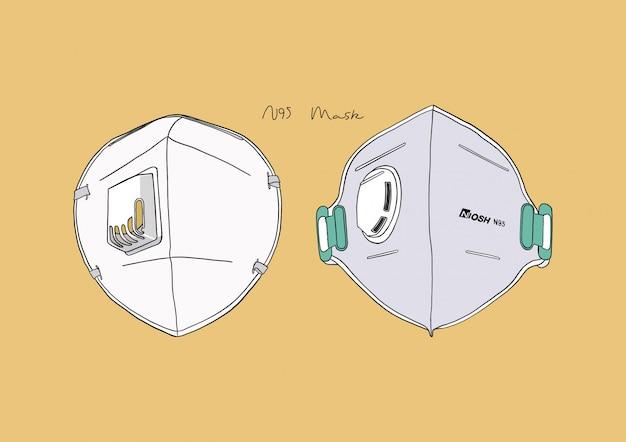 Ilustración de la máscara n95 / máscara quirúrgica / máscara facial / máscara médica