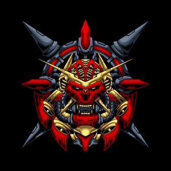 Ilustración de máscara oni mecha ronin