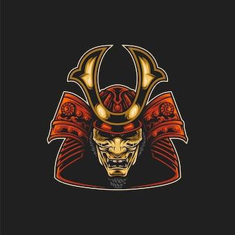 Ilustración de máscara de samurai