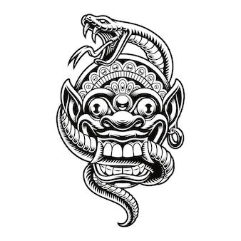 Una ilustración de una máscara tradicional de bali con una serpiente. este diseño se puede utilizar como estampado de camisetas y para muchos otros usos.